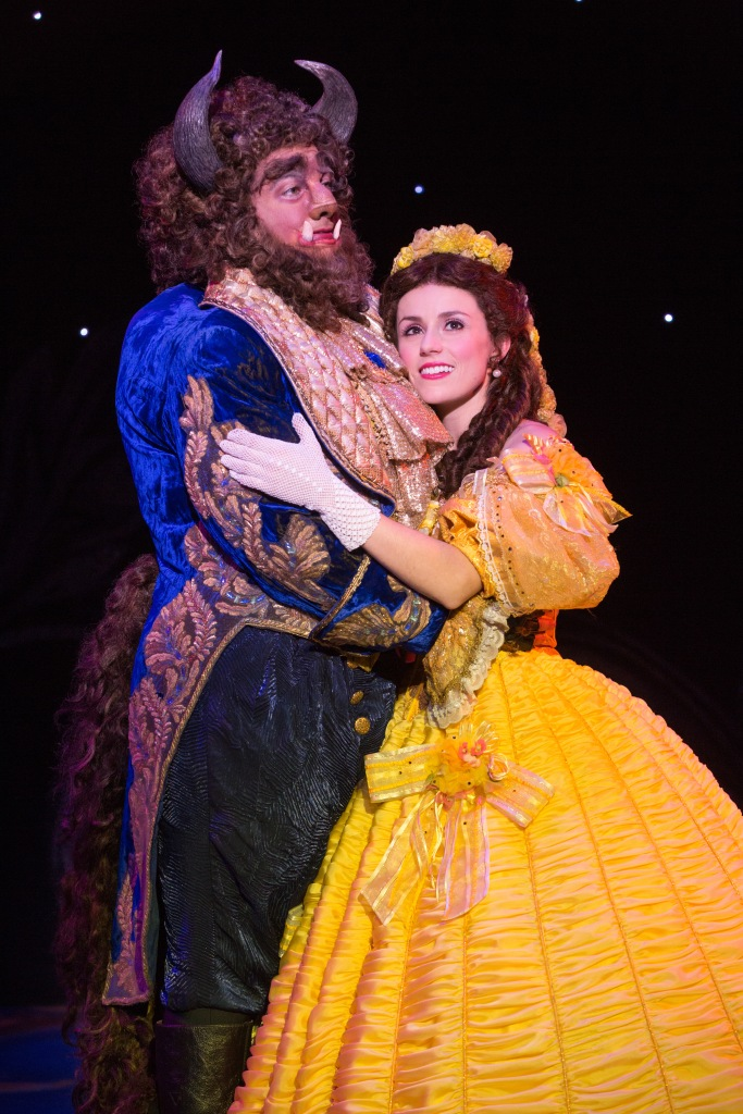 Beast and Belle: Ryan Everett Wood as Beast and Jillian Butterfield as Belle in Disney's Beauty and the Beast. Photo by Matthew Murphy